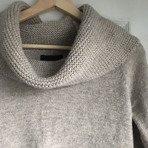 Wool blend knit cowl sweater with mini pockets
